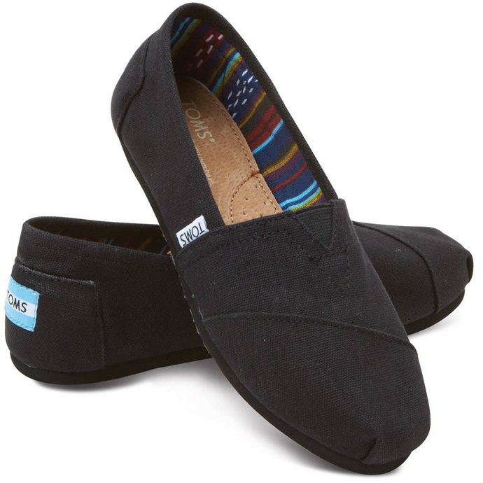6a30e1407e 10002472 Classic Black On Black Canvas Slip-On Casual Toms Womens Shoes