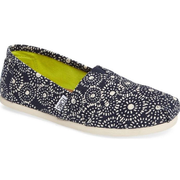 b37ab025413 10009722 Navy Shibori Dots Slip On Womens Classic Toms Shoes