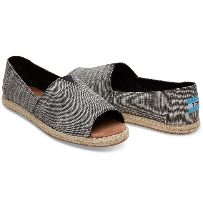 ba5a96d54 10009840 Black Microstripe Womens Toms Open Toe Espadrilles Slip On Shoes