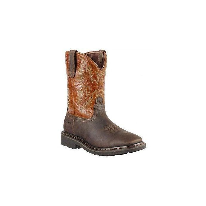 8deb4100b70 10010889 SIERRA Dark Brown Square Toe Ariat Mens Western Work Boots