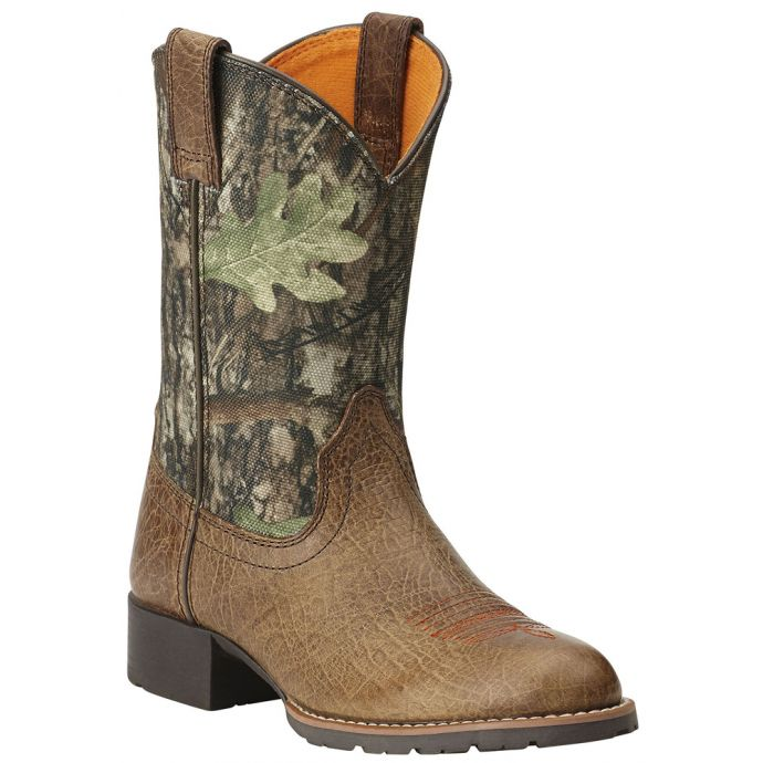 2f7619a18bc0a 10014098 Hybrid Rancher Brown/Camo Ariat Round Toe Kids Western Cowboy Boots