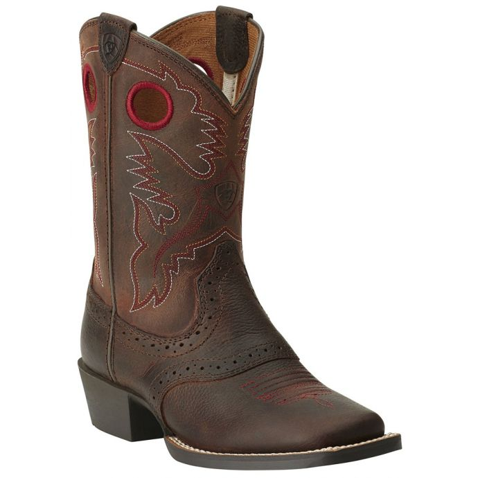 97212e9d358 Ariat Roughstock Square Toe Brown/Red Leather Kids Western 10014101