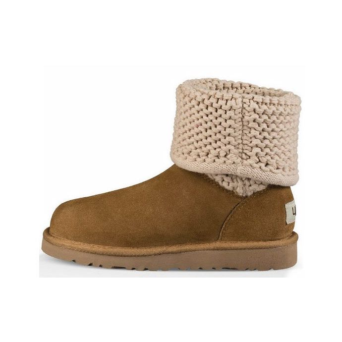 d2d043fabe7 UGG Darrah Knit Grey Suede/Fabric Kids Boots 1013859K-GRY
