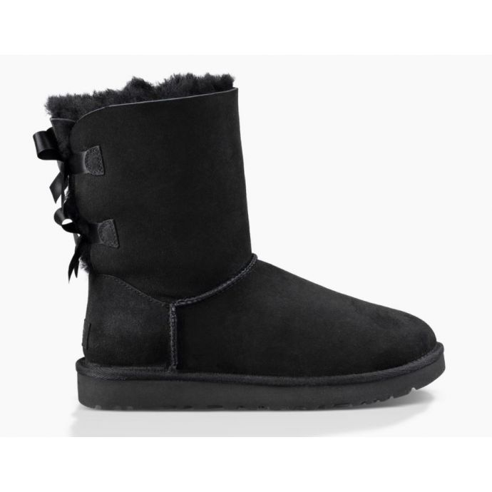 723c3c3b371 UGG Bailey Bow II Black Classic Womens Short Boots With Bows On Back  1016225-BLK