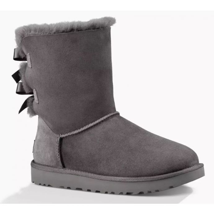 04d88d2710a UGG Bailey Bow II Grey Classic Womens Short Boots With Bows On Back 1016225
