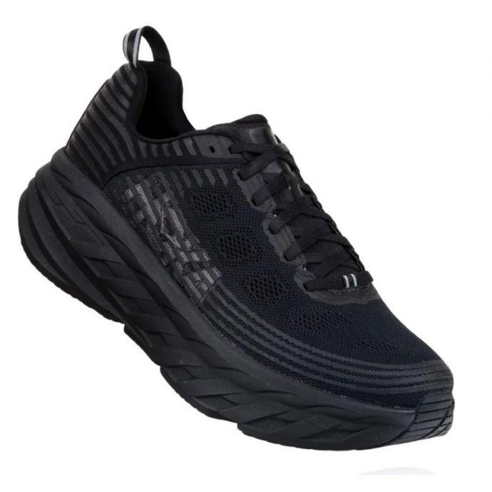 separation shoes 6a0be 96ca8 Hoka One Black/Black Bondi 6 Womens Cushioned Running Shoes 1019270