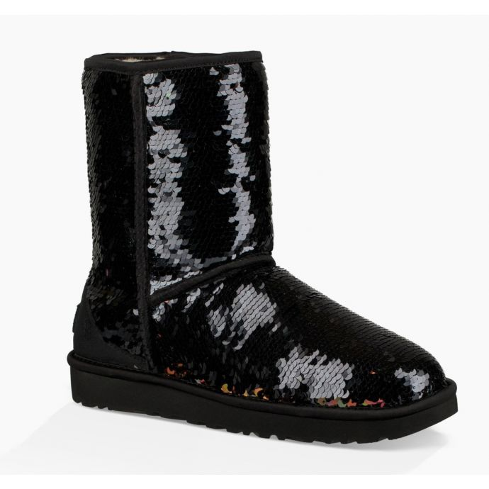 1ef265977f2 UGG Black Classic Sequin Womens Short Boots 1094982