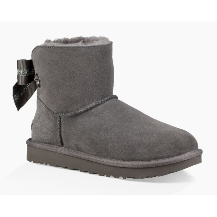 3159e9bc14a UGG Charcoal Customizable Bailey Bow Mini Womens Boots 1100212