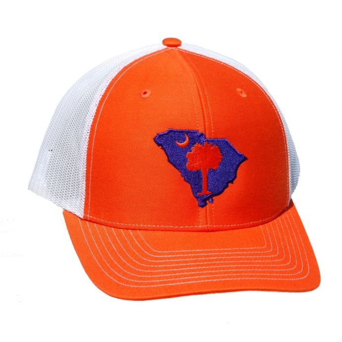 Richardson Orange/White Mesh Back Trucker Ball Cap with Embroidered SC  State Outline 112-OW-A