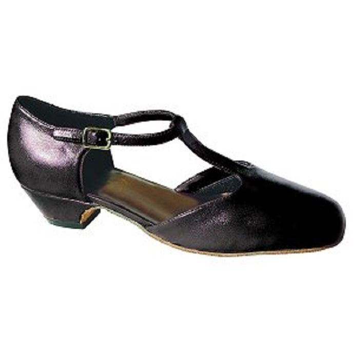 1f895579d 1351 Black Classic T-Strap 1inch Heel Womens Square Dance Shoes