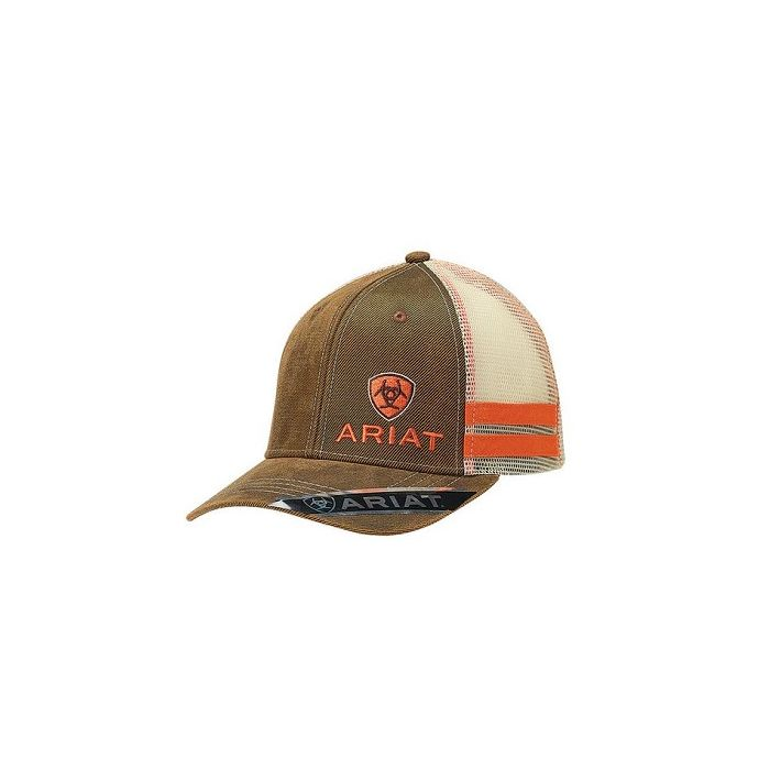 339f2dfd3 Ariat Brown Mens Oilskin Cap with Off Set Logo 1595002
