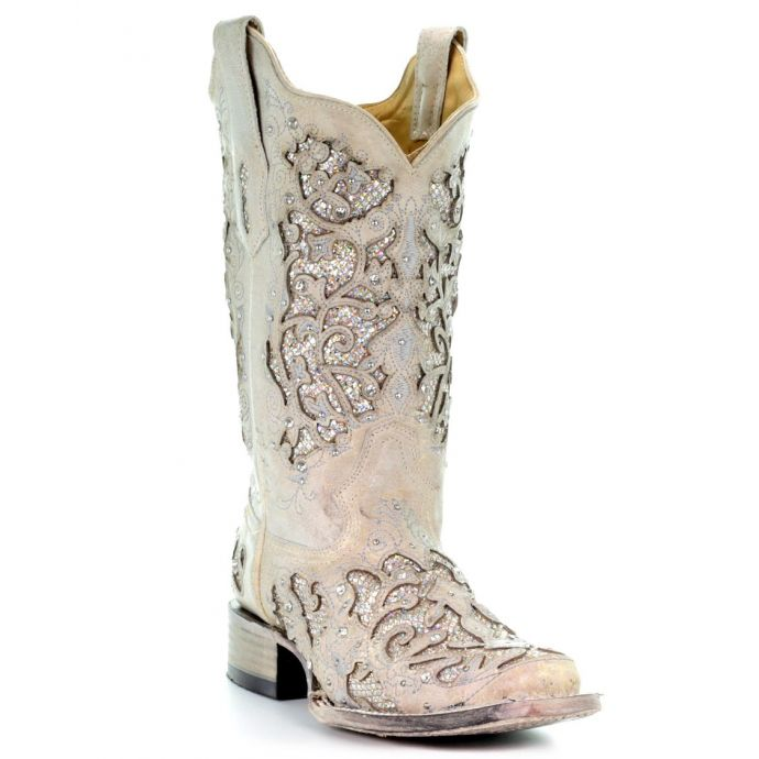 a80fbecf000 Corral White Glitter & Crystals Womens Square Toe Western Boots A3397