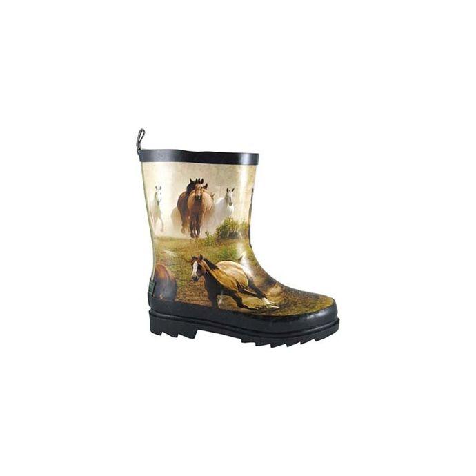 c4b8484d866 Smoky Mountain Running Horse Tan Multi Waterproof Kids Rain Boot 2709C