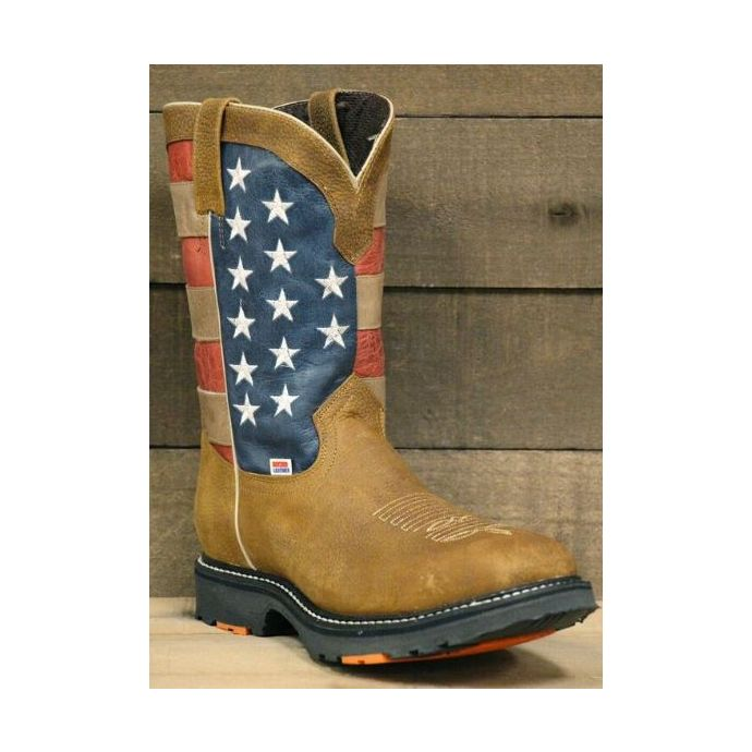 dda68d995e8 RockinLeather Mens American Flag Steel Toe Work Boot 3110