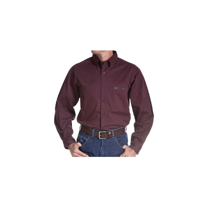 802adf75ac46 3W501BG Burgundy Riggs Workwear Twill Long Sleeve Wrangler ...