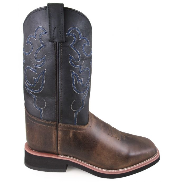 3befcf83ecc Smoky Mountain Brown with Black Top Square Toe Kids Western Boots 5005