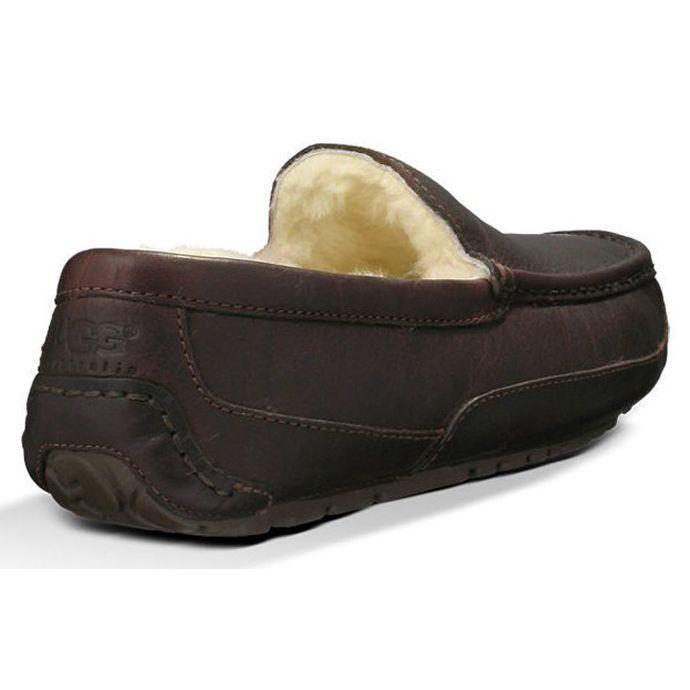 d66496f7d85 UGG Ascot Brown Leather Mens Indoor/Outdoor Slipper