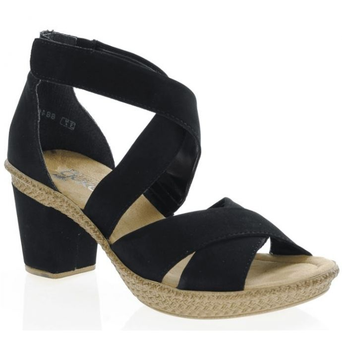 2d551d200d6 Rieker Black Block Heeled Womens Adjustable Strap Sandals 66579-00