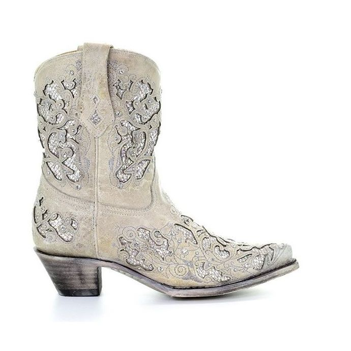 2287b215a39 Corral Glitter Inlay & Crystals Womens Short Western Boots A3550