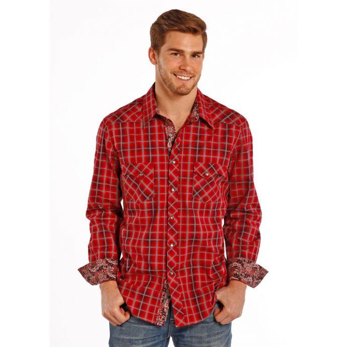 0660cfaf B2S8402 Red Grey Plaid Snap Long Sleeve Rock & Roll Cowboy Western Mens  Shirt