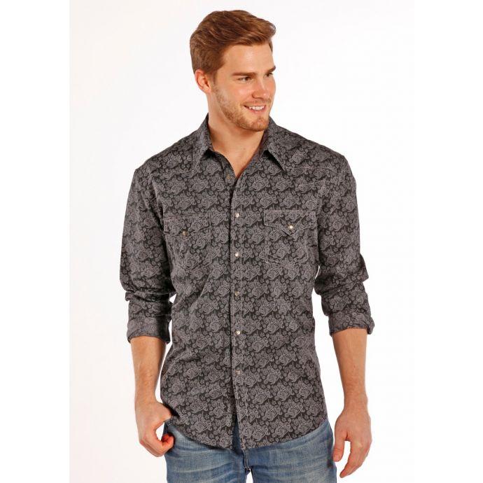 e0183172 B2S8413 Paisley Print Long Sleeve Snap Mens Rock & Roll Cowboy Western Shirt