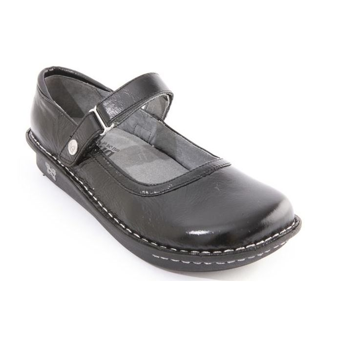 3a3197f264d Alegria Belle Black Crinkle Leather Mary Jane Womens Clog Shoes BEL-10