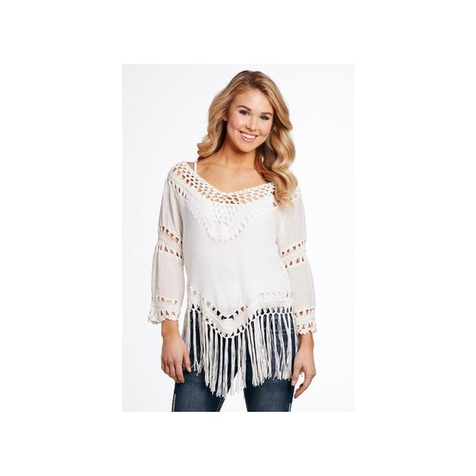 Sidran Cowgirl Up Mixed Fabric Crochet Womens Fringe Top Cg70910