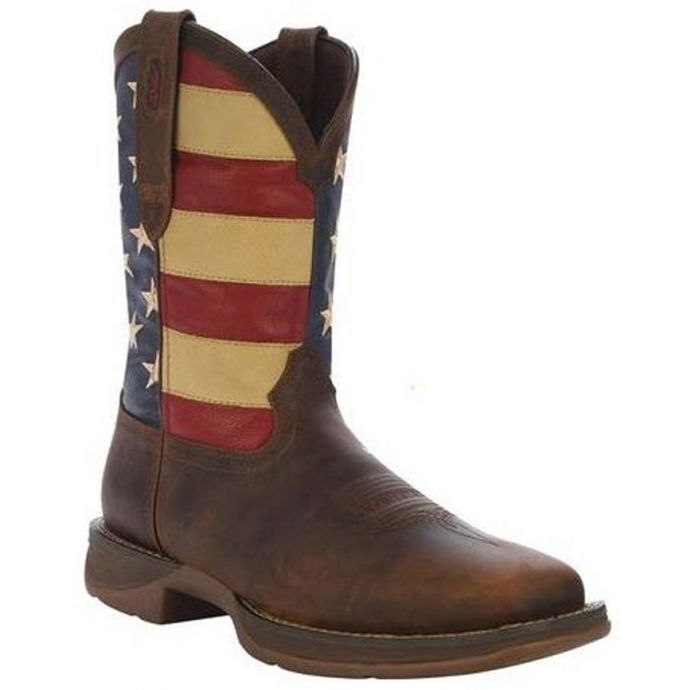 03cbe7d3afe DB5554 Patriotic Flag Pull-On Square Toe Mens Western Cowboy Boots