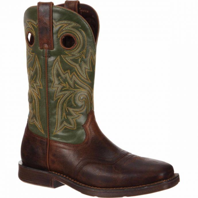 f09fbf1e024 Durango Rebel Pullon Square Toe Brown and Green Mens Western ...