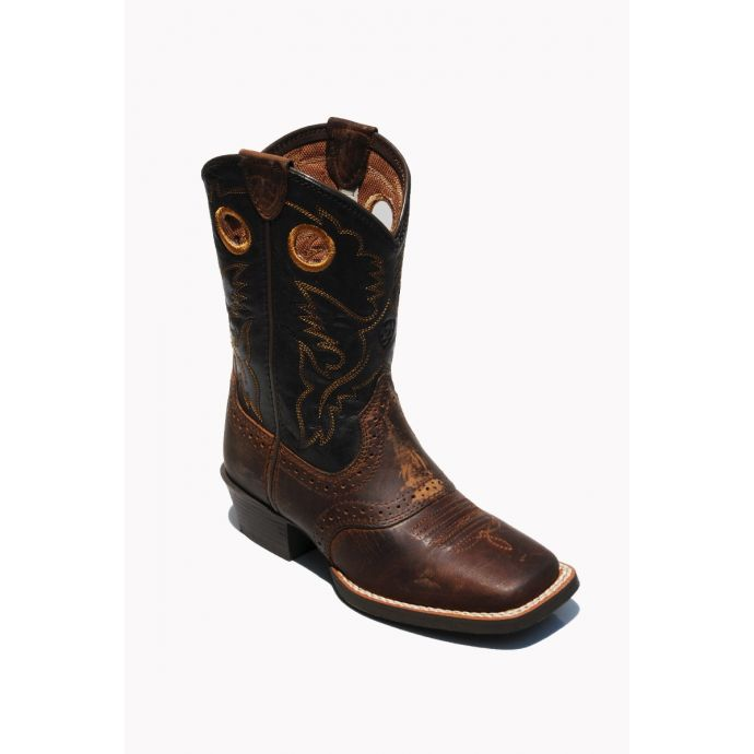 d9ec686341c Ariat Roughstock Brown/Yellow Leather Kids Western 10016239