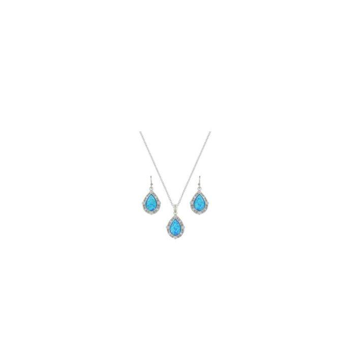 Montana Silversmiths Opal River of Lights Latticed Teardrop Womens Jewelry  Set JS3807
