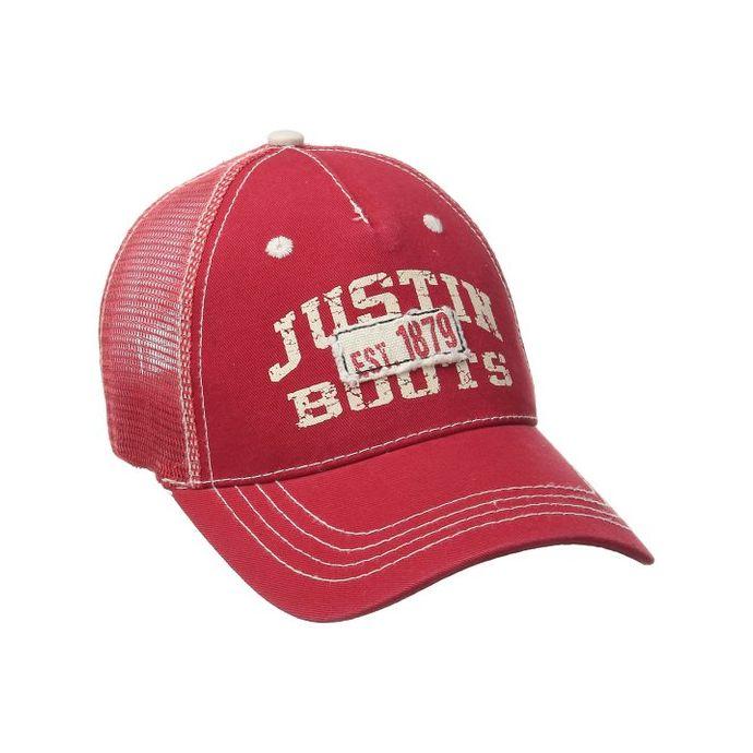 070abf859 JSM104 Red Justin Boots Mens Mesh Back Ball Cap