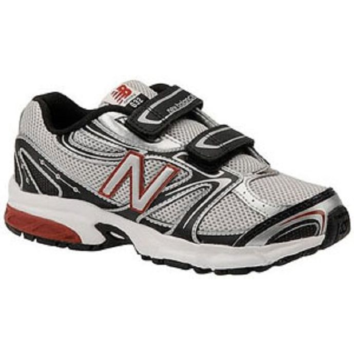 53dd3c20 KG632SB Silver/Black/Red Velcro Running New Balance Kids Shoes