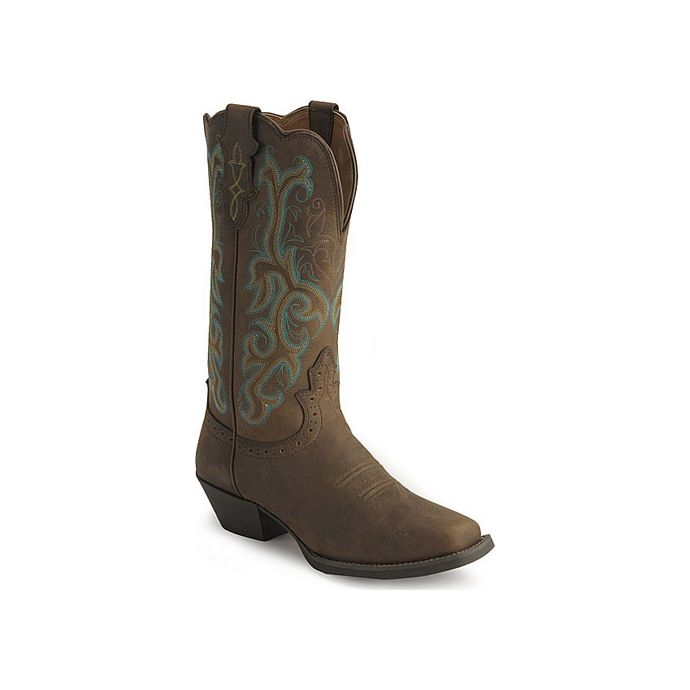b5b8fc63ee1 L2552 Distressed Brown Square Toe Justin Womens Western Cowboy Boots