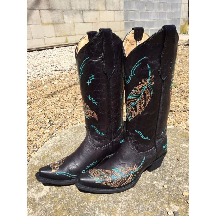 ec289810bf2 Circle G from Corral Boots Snip Toe with Embroidered Feather Black ...