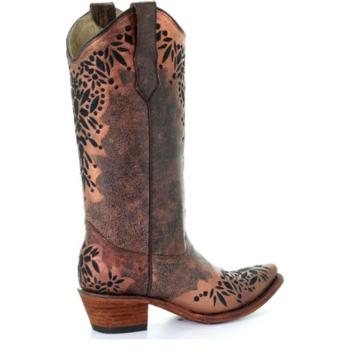 cb9cc8d0557 Corral Circle G Shedron Black Embroidered Womens Snip Toe Western Boots  L5368
