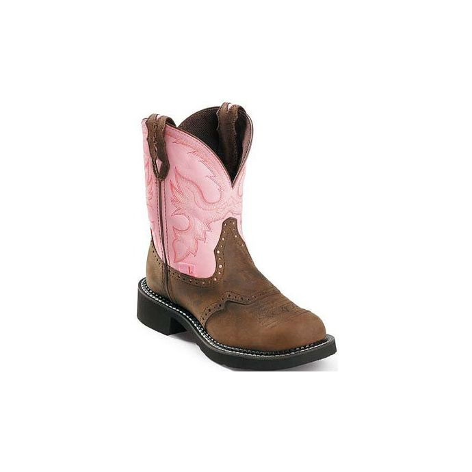 8924e436776 L9901 Brown/Pink 8 inch Shaft Justin Womens Western Cowboy Boots