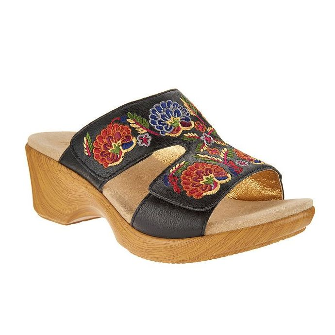 Alegria Womens Sandals Leather On Linn Black Slip 601 Embroidered Multi Wedge Lin w8k0nOP