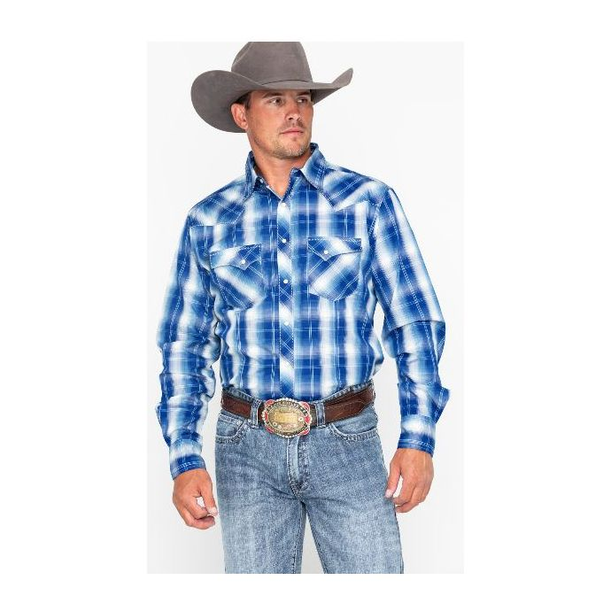 3a8cc22c Wrangler Blue/White Fashion Snap Plaid Long Sleeve Western Mens Shirt