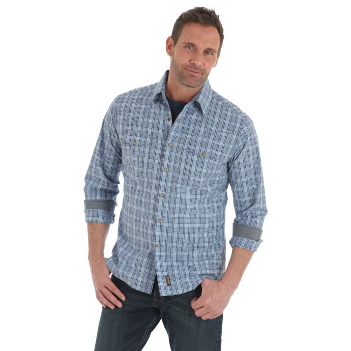 e8163b33 Home; Wrangler Retro Blue Plaid Mens Long Sleeve Snap Western Shirt  MVR369M. Skip to the end of the images gallery
