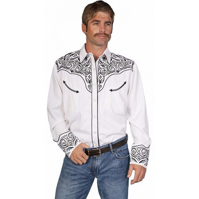 d9534c6f P-815 White w/Black Embroidery Long Sleeve Western Scully Mens ...