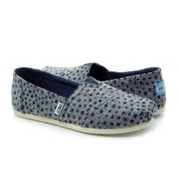 Toms Navy Slub Chambray Dots Espadrilles Womens Comfort Shoes 10011652