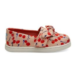 TOMS Coral Pink Cherry Cherie Print Bow Tiny Classics 10013332