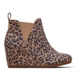 TOMS Desert Tan Leopard Print Suede Women's Kelsey Booties 10014153