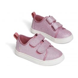 Toms Ballet Pink Glitter Tiny Lenny Double Strap Sneakers 10014239