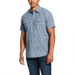 Ariat Grey Heather Jynwood Retro Fit Mens Short Sleeve Shirt 10030725