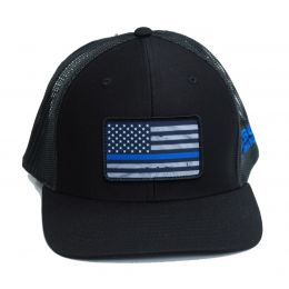 Richardson Custom Thin Blue Line Flag Sublimation Patch Black OSFM Ballcap 112-B-BLUELINE
