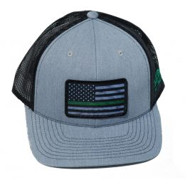 Richardson Custom Thin Green Line Flag Sublimation Patch Heather Grey/Black OSFM Ballcap 112HGBGREENLINE