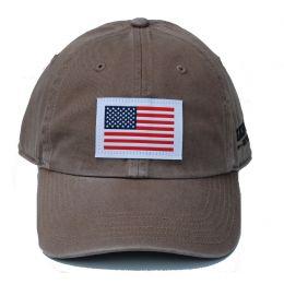 Richardson Custom Woven American Flag Patch Cotton Twill Driftwood OSFM Ballcap 320-D-USA