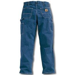 B13  Carhartt Darkstone Washed Denim Mens Work Carpenter Jeans
